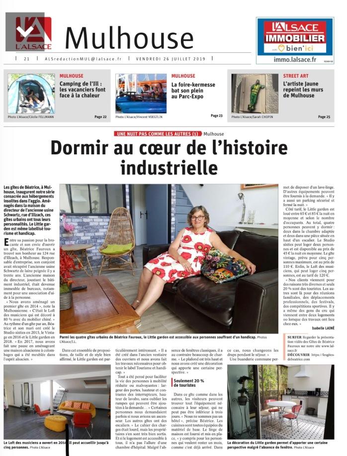 L'Alsace publie un article d'une page sur Les Gîtes de Béatrice à Mulhouse